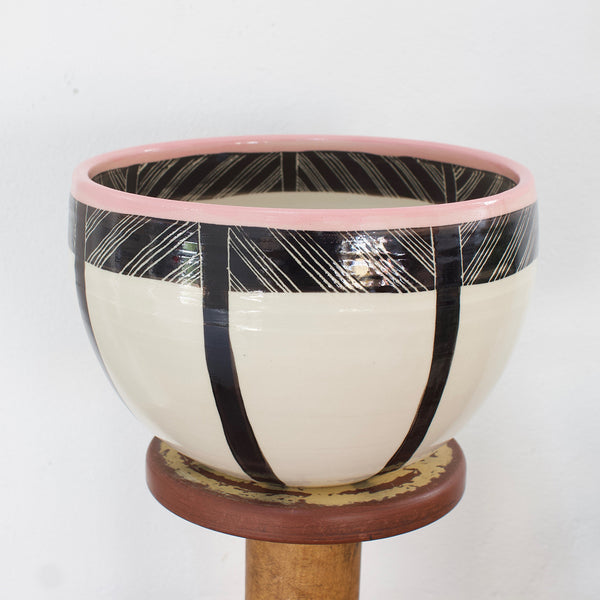Crosshatch Large Bowl // Planter - Black & Dusty Pink