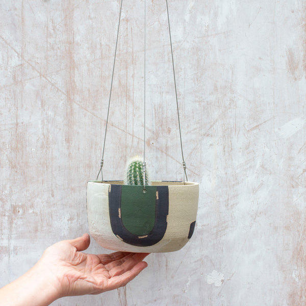 Moss Pathways Large Hanging Planter - Black, Moss and Forest Green
