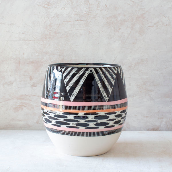 XL Tri Burst Orb Vessel - Black, Dusty Pink & Nasturtium