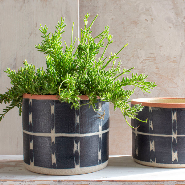Textured Vertical Tracks Large Planter - Blue Steel & Nasturtium