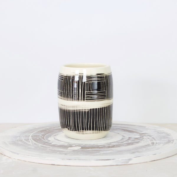 Linear Stripe Little Vase - Black