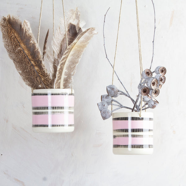 Stitched Up Little Hanging Planter - Dusty Pink