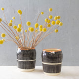 Stripey Road Little Vase // Planter - Black & Nasturtium