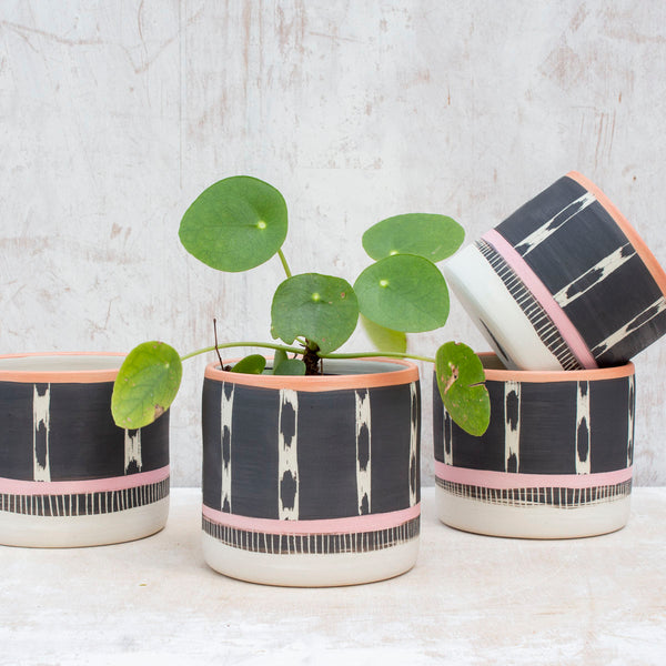 Tracks Little Planter  - Black, Dusty Pink & Nasturtium