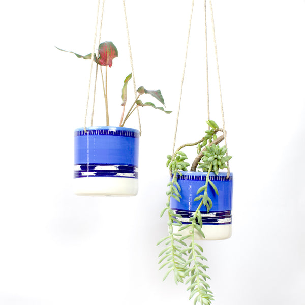 Blue Haze Medium Hanging Planter - Electric Blue