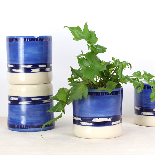 Blue Haze Medium Planter - Indigo, Electric Blue & Sky Blue