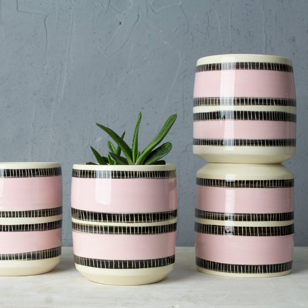 Stitched Up Med Planter - Black & Dusty Pink