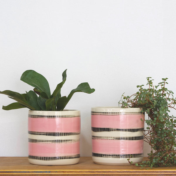 Stitched Up Medium Planter - Black and Dusty Pink