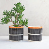 Stripey Road Planter - Black & Nasturtium