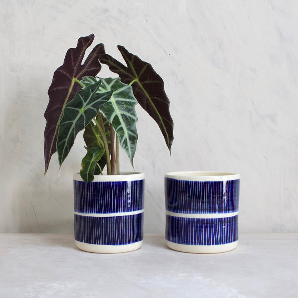 Stripey Road Medium Planter - Indigo