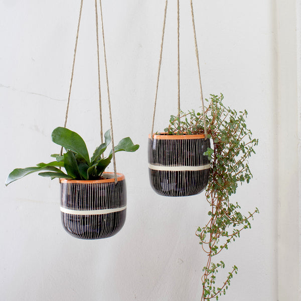 Stripey Road Medium Hanging Planter - Nasturtium