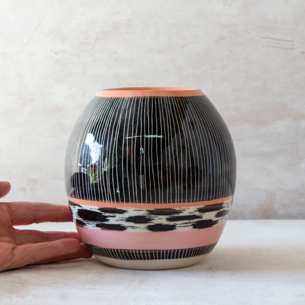 Stripey Tracks Vase - Black, Dusty Pink & Nasturtium