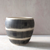 Textured Linear Stripe Vessel - Black