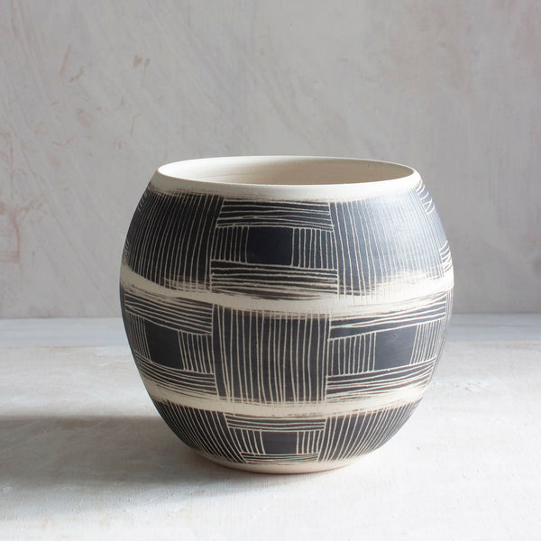 Textured Linear Stripe Orb Vessel - Black