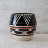 Tri Burst Orb Vessel - Black, Dusty Pink & Nasturtium