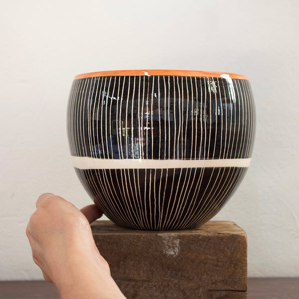 Stripey Road Orb Vessel - Black & Nasturtium