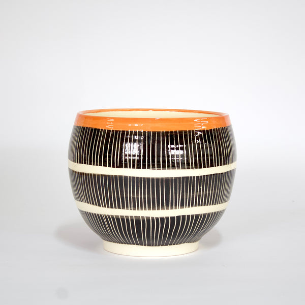 Stripey Road Orb Bowl // Planter - Black & Nasturtium