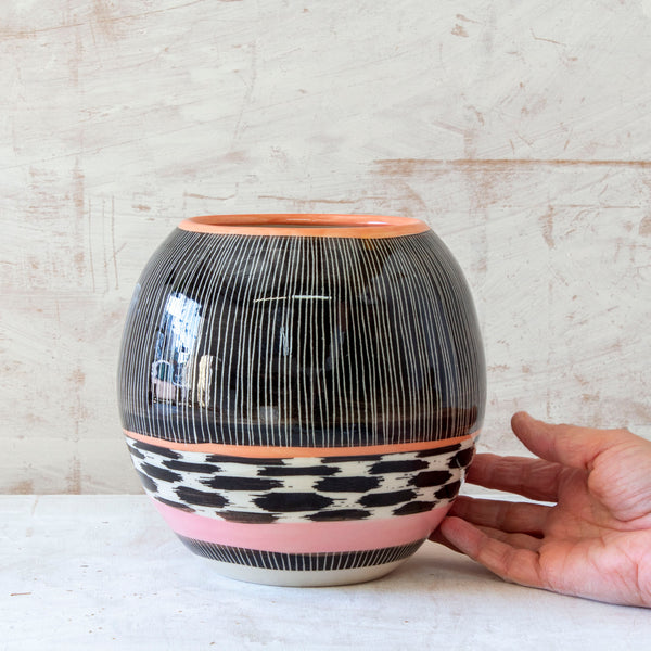 Stripey Tracks Orb Vase - Black, Dusty Pink & Nasturtium
