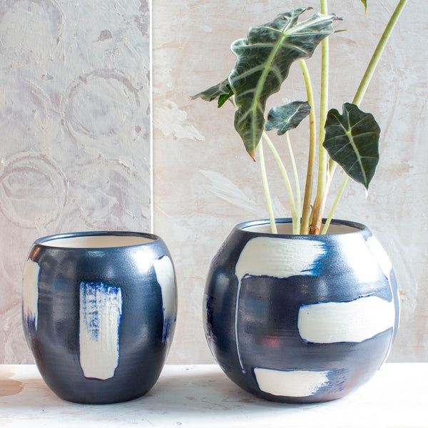 Slip Brushstroke Upwards Vase - Blue Steel