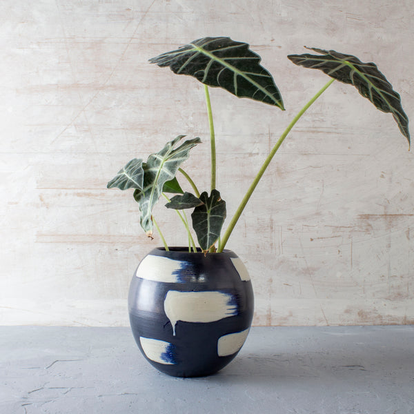 Slip Brushstroke Orb Vessel - Blue Steel