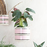 Stitched Up - Outdoor Jumbo Hanging Planter - Dusty Pink