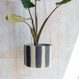 Stripey Blue Steel - Outdoor Large Hanging Planter