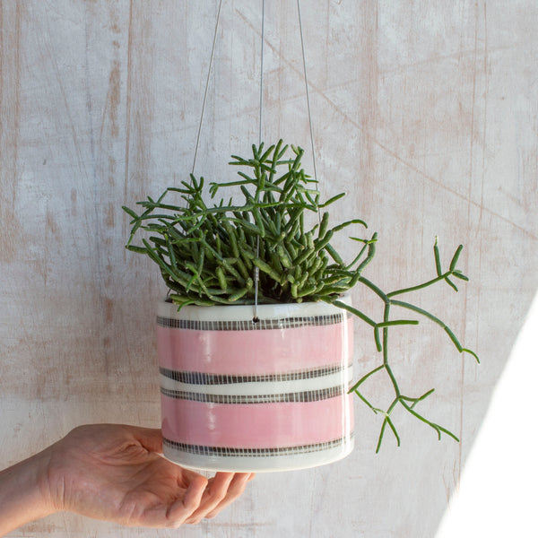 Stitched Up - Outdoor Large Hanging Planter - Dusty Pink & Black
