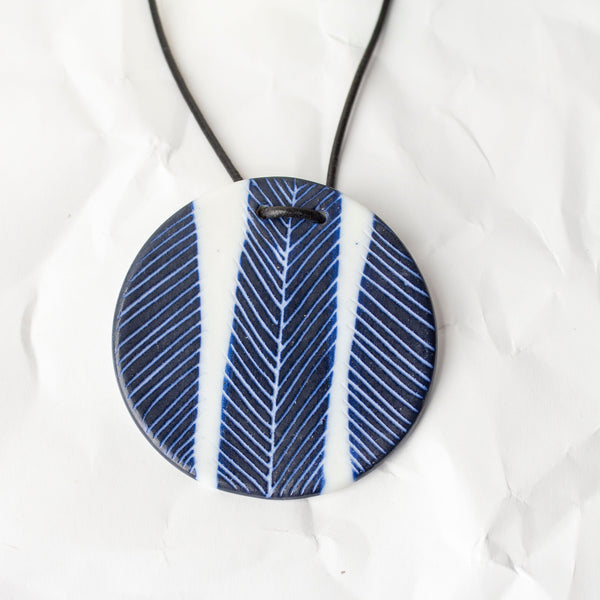 Feather Pendant - Blue Steel