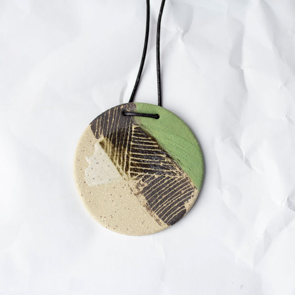 Moss Pathways #1 Pendant - Black & Moss