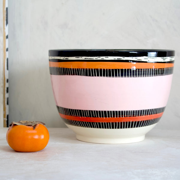 Liquorice All Sorts Bowl // Planter - Black, Dusty Pink, Nasturtium & Indian Red