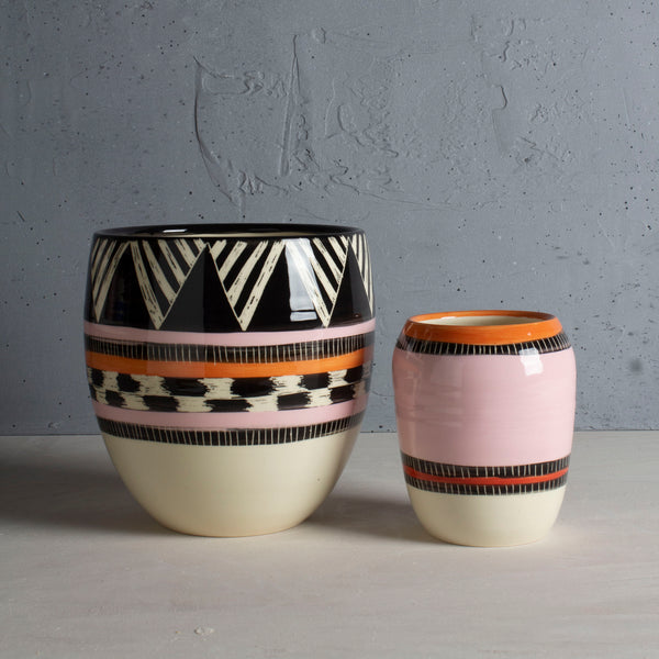 Tri Burst Vessel - Black, Dusty Pink & Nasturtium