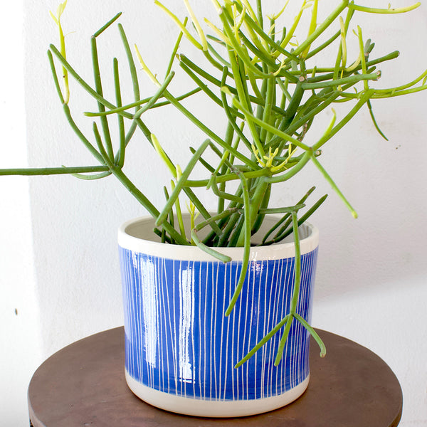 Stripey Road Jumbo Planter Low - Electric Blue