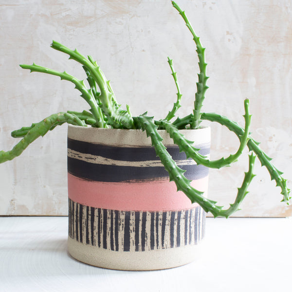 Textured Galah Large Planter  - Black & Galah