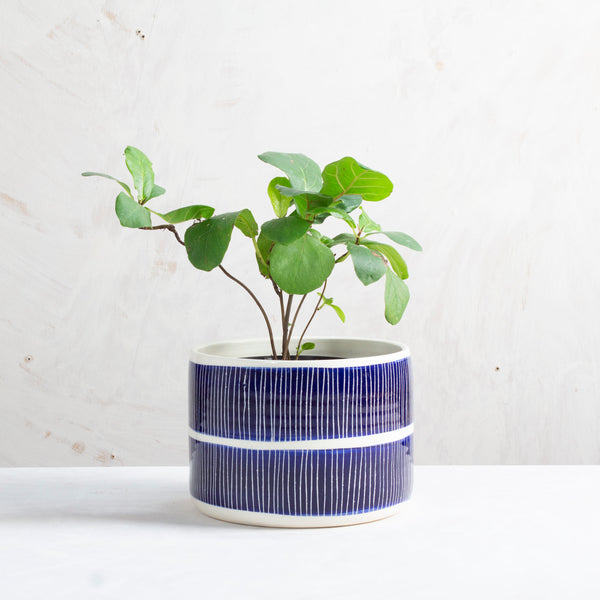 Stripey Road Planter - Indigo