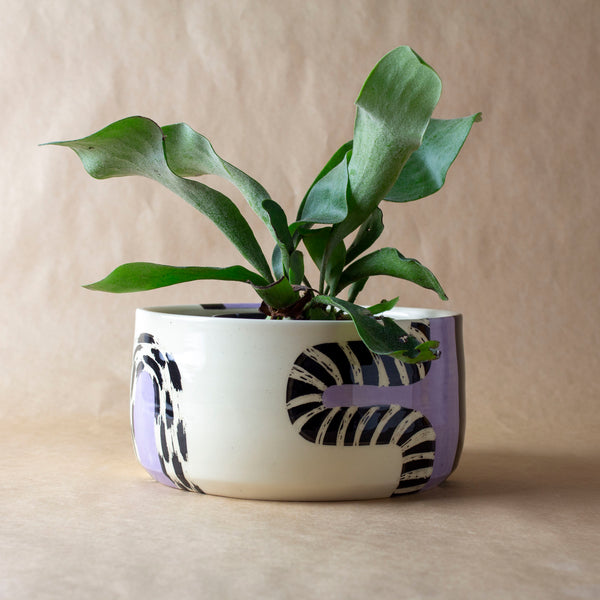 Lilac Path #1 Vessel - Black & Lilac