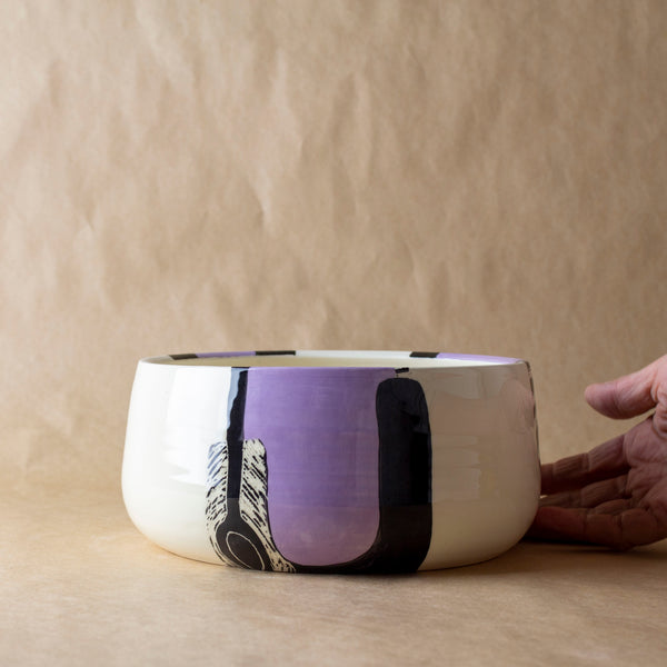 Lilac Path #2 Vessel - Black & Lilac
