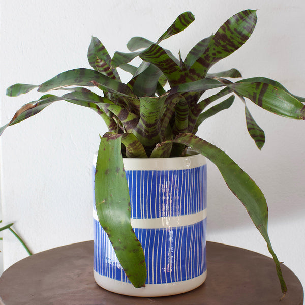 Stripey Road Big Planter s  - Electric Blue