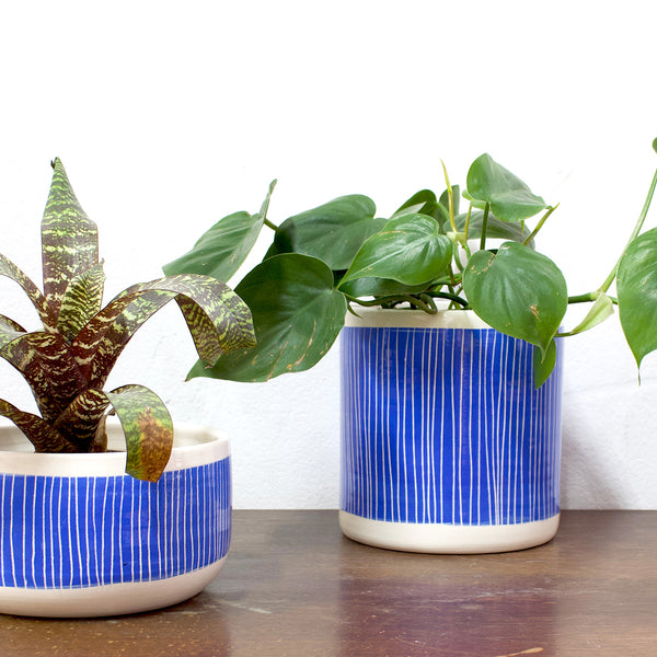 Stripey Road Big Planter L  - Electric Blue
