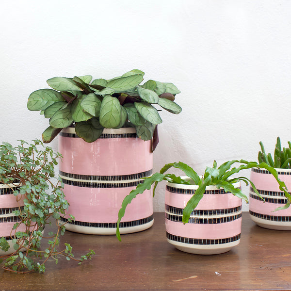 Stitched Up Jumbo Planter L - Black & Dusty Pink