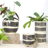 Linear Stripe Medium Hanging Planter - Black & White