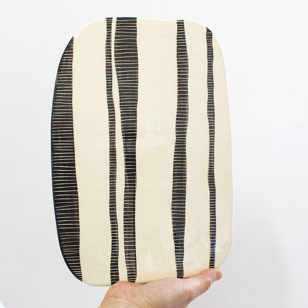 Stripey Road  Platter - Black