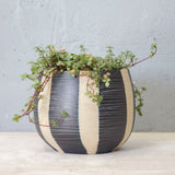 Stripe Blue Steel rounded Vessel // Planter