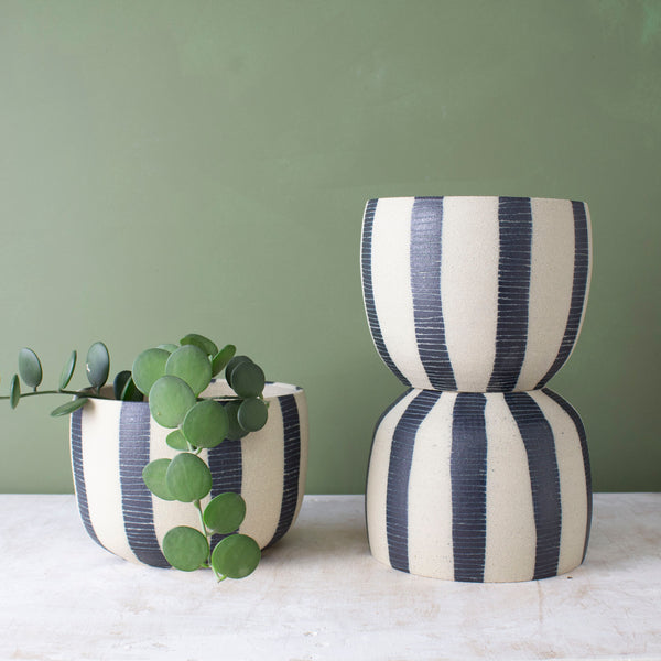 Stripey Blue Steel Vessel // Planter
