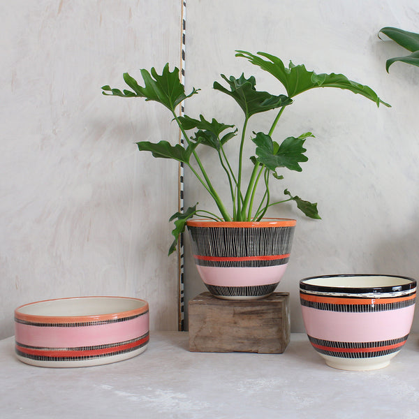 Liquorice All Sorts Shallow Planter  // Bowl - Black, Dusty Pink, Indian Red & Nasturtium