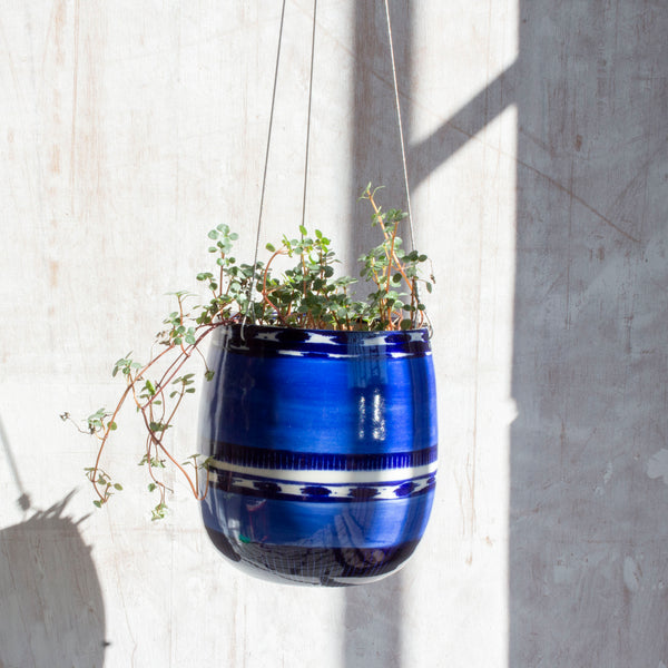 Blue Haze Tall Outdoor Hanging Planter - Electric Blue & Indigo