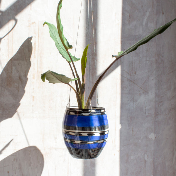 Blue Haze Tall Outdoor Hanging Planter - Electric Blue & Black