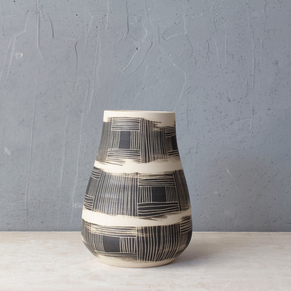 Textured Linear Stripe Teardrop Vase - Black