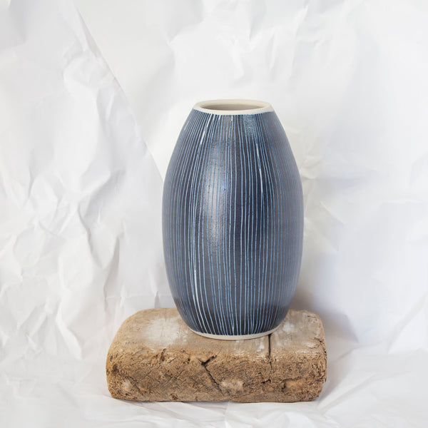 Blue Steel -  Elongated Vase