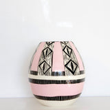 Diamond Eye Vase - Black & Dusty Pink