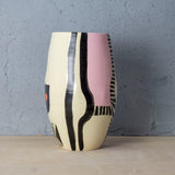 Pink Path - Organic Vase  - Black & Dusty Pink